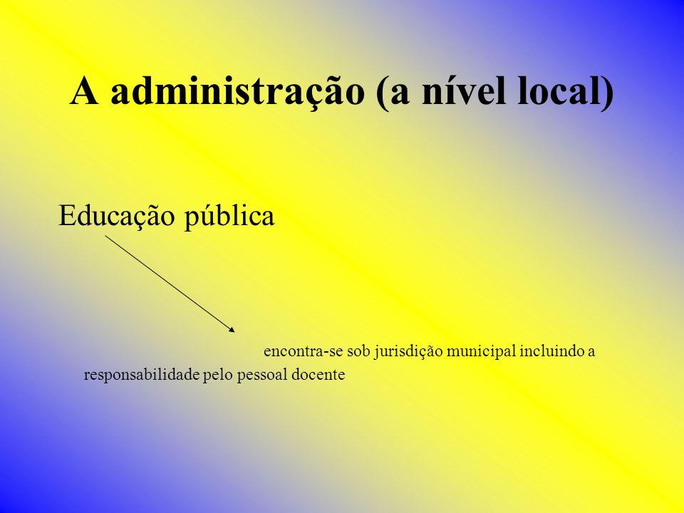 A administração (a nível local) Educação pública encontra-se sob jurisdição municipal incluindo a responsabilidade pelo pessoal docente