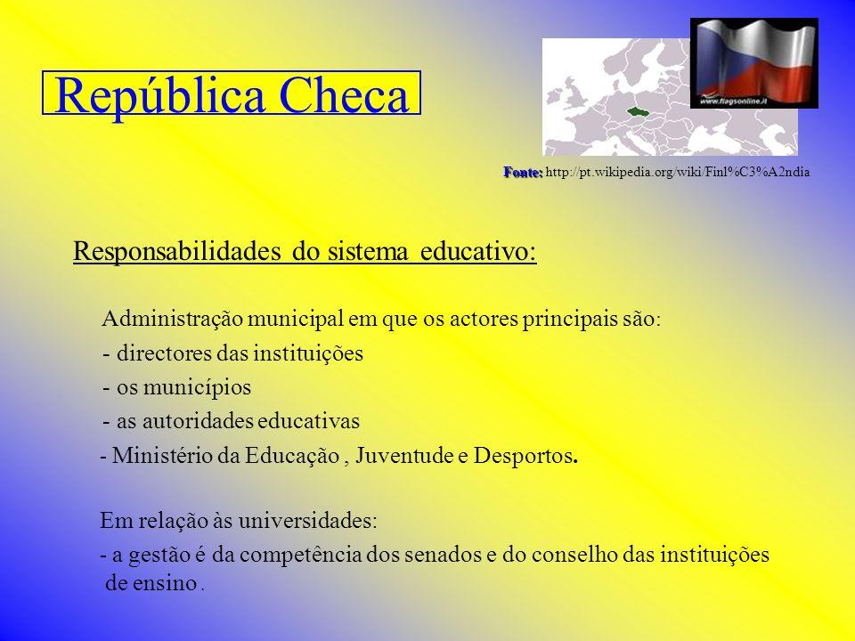 República Checa Fonte: Fonte: http://pt.wikipedia.org/wiki/Finl%C3%A2ndia Responsabilidades do sistema educativo: Administração municipal em que os ac