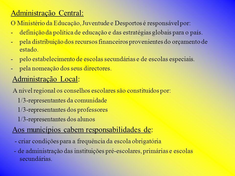 Administração Central: O Ministério da Educação, Juventude e Desportos é responsável por: -definição da política de educação e das estratégias globais