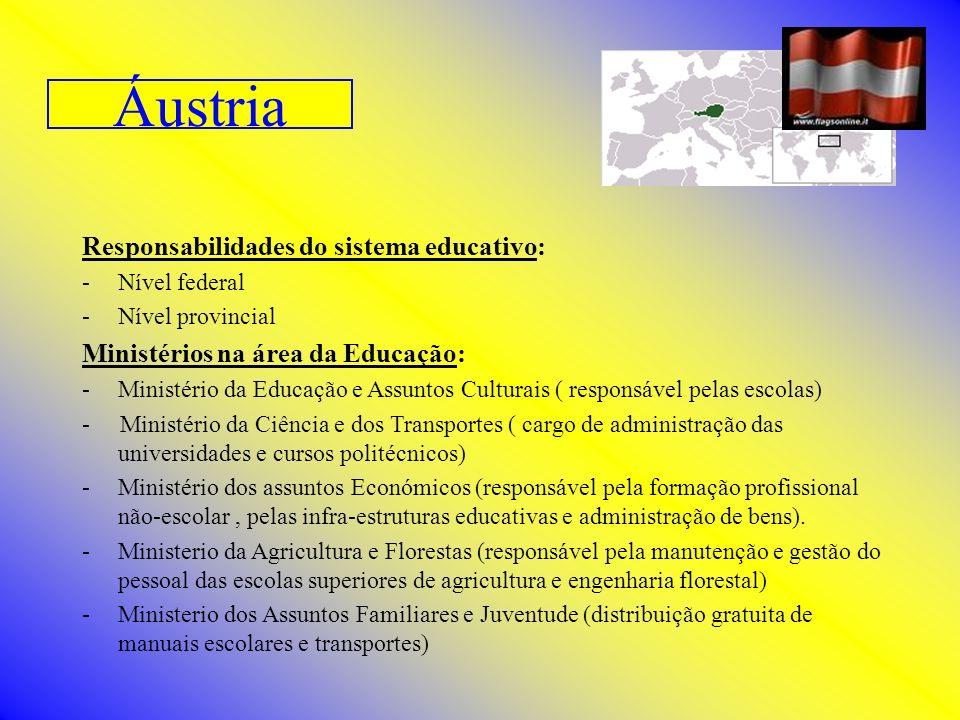 Áustria Responsabilidades do sistema educativo: -Nível federal -Nível provincial Ministérios na área da Educação: -Ministério da Educação e Assuntos C
