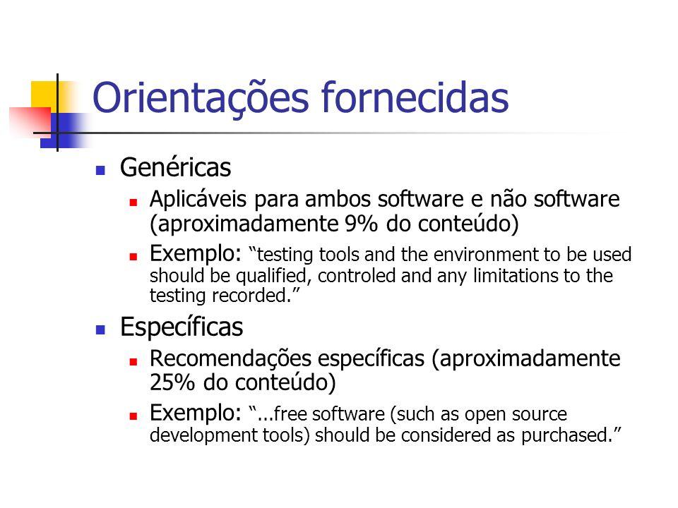 Orientações fornecidas Genéricas Aplicáveis para ambos software e não software (aproximadamente 9% do conteúdo) Exemplo: testing tools and the environ