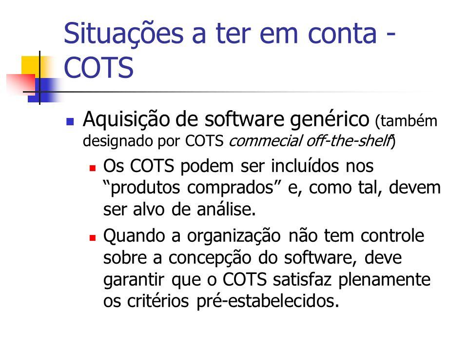 Situações a ter em conta - COTS Aquisição de software genérico (também designado por COTS commecial off-the-shelf) Os COTS podem ser incluídos nos pro
