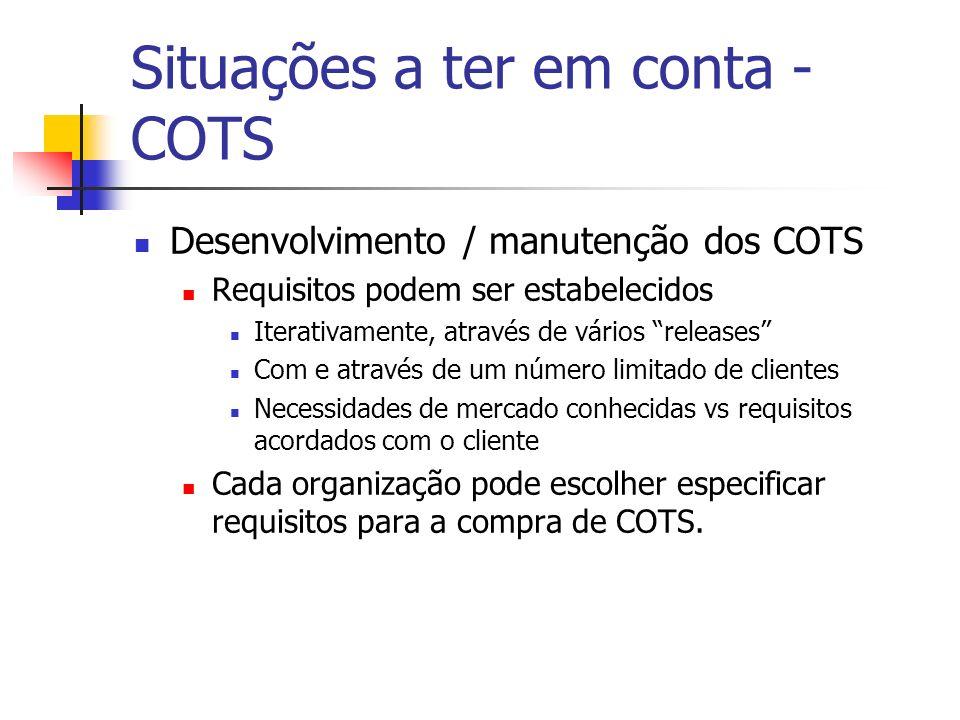 Situações a ter em conta - COTS Desenvolvimento / manutenção dos COTS Requisitos podem ser estabelecidos Iterativamente, através de vários releases Co