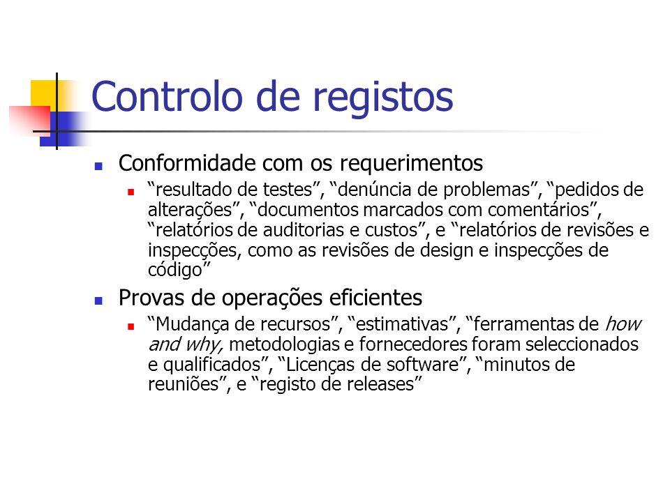 Controlo de registos Conformidade com os requerimentos resultado de testes, denúncia de problemas, pedidos de alterações, documentos marcados com come