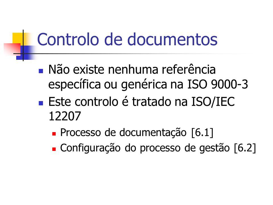 Controlo de documentos Não existe nenhuma referência específica ou genérica na ISO 9000-3 Este controlo é tratado na ISO/IEC 12207 Processo de documen