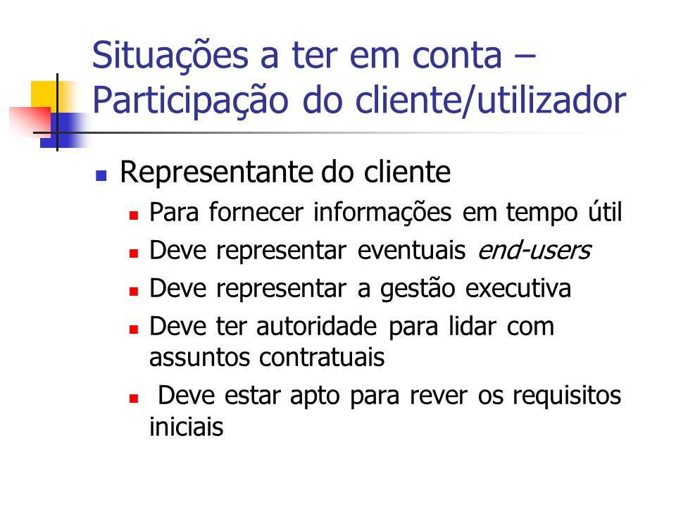 Situações a ter em conta – Participação do cliente/utilizador Representante do cliente Para fornecer informações em tempo útil Deve representar eventu