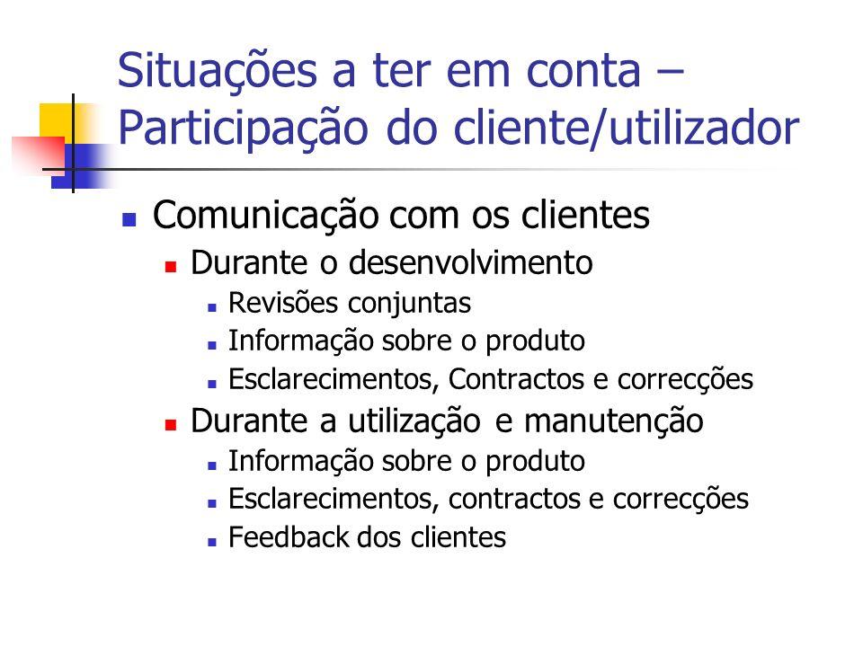 Situações a ter em conta – Participação do cliente/utilizador Comunicação com os clientes Durante o desenvolvimento Revisões conjuntas Informação sobr