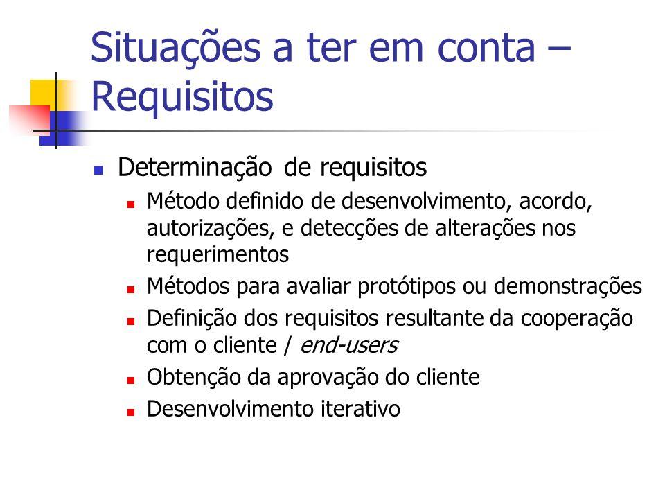 Situações a ter em conta – Requisitos Determinação de requisitos Método definido de desenvolvimento, acordo, autorizações, e detecções de alterações n