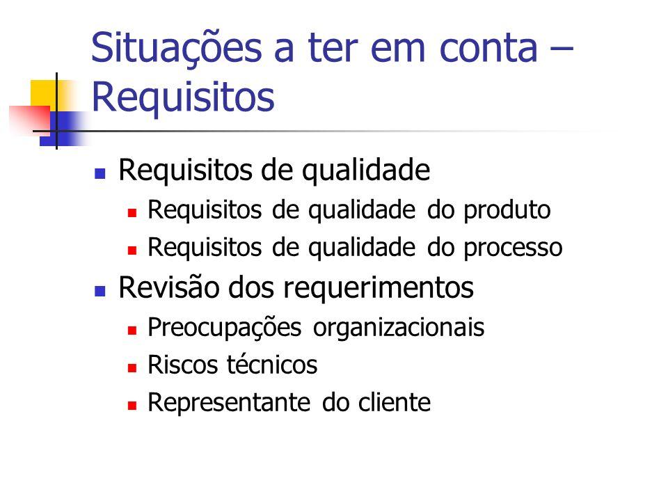 Situações a ter em conta – Requisitos Requisitos de qualidade Requisitos de qualidade do produto Requisitos de qualidade do processo Revisão dos reque