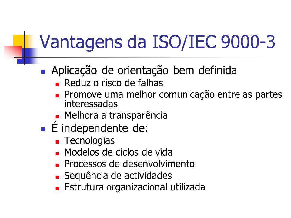 Vantagens da ISO/IEC 9000-3 Aplicação de orientação bem definida Reduz o risco de falhas Promove uma melhor comunicação entre as partes interessadas M