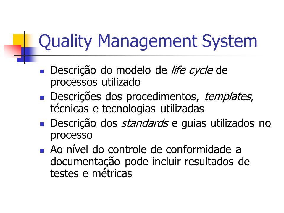 Quality Management System Descrição do modelo de life cycle de processos utilizado Descrições dos procedimentos, templates, técnicas e tecnologias uti