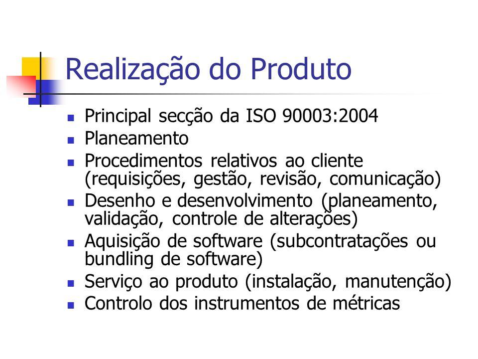Realização do Produto Principal secção da ISO 90003:2004 Planeamento Procedimentos relativos ao cliente (requisições, gestão, revisão, comunicação) De