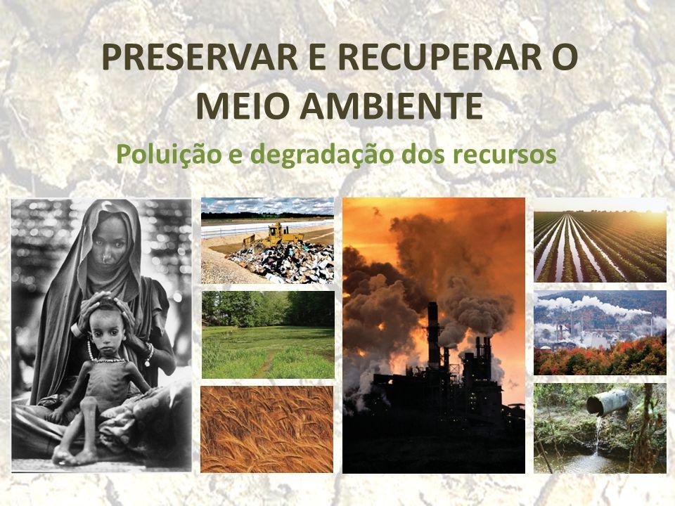 PRESERVAR E RECUPERAR O MEIO AMBIENTE Poluição e degradação dos recursos