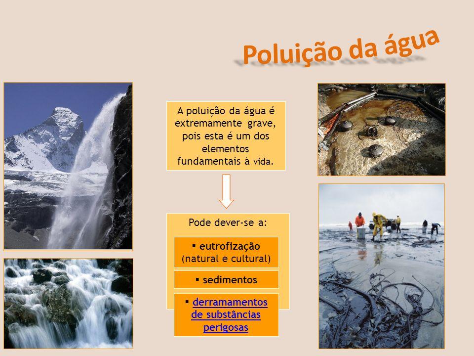Pode dever-se a: A poluição da água é extremamente grave, pois esta é um dos elementos fundamentais à vida. eutrofização (natural e cultural) sediment