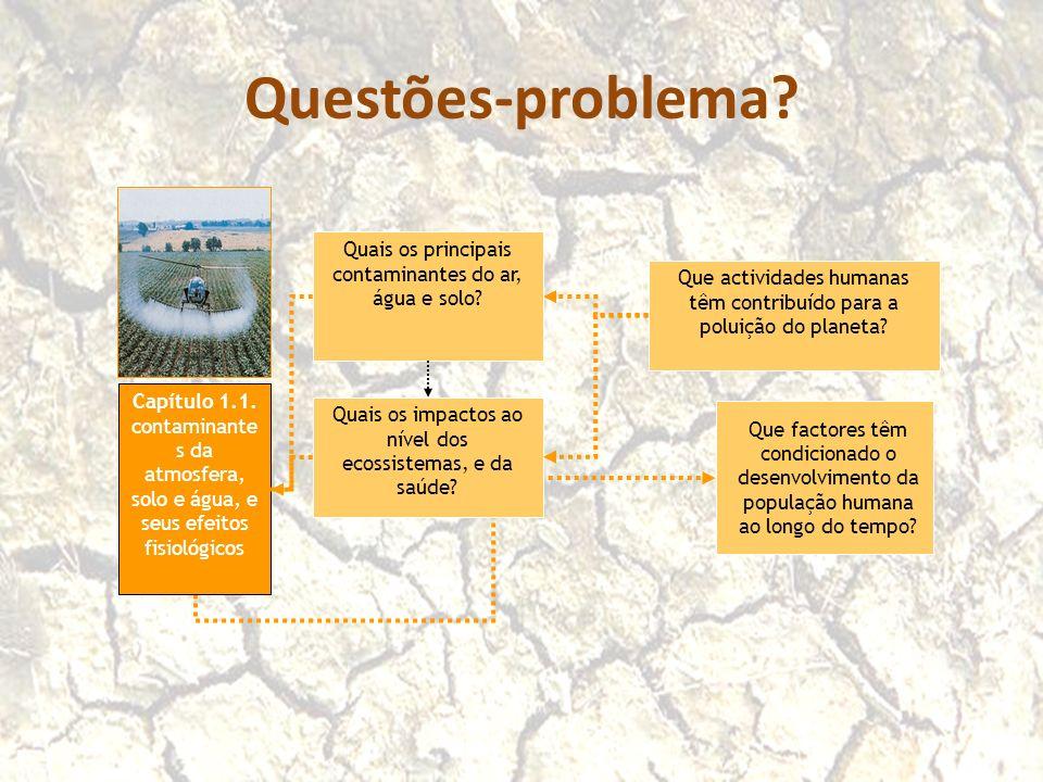 Questões-problema? Que actividades humanas têm contribuído para a poluição do planeta? Que factores têm condicionado o desenvolvimento da população hu