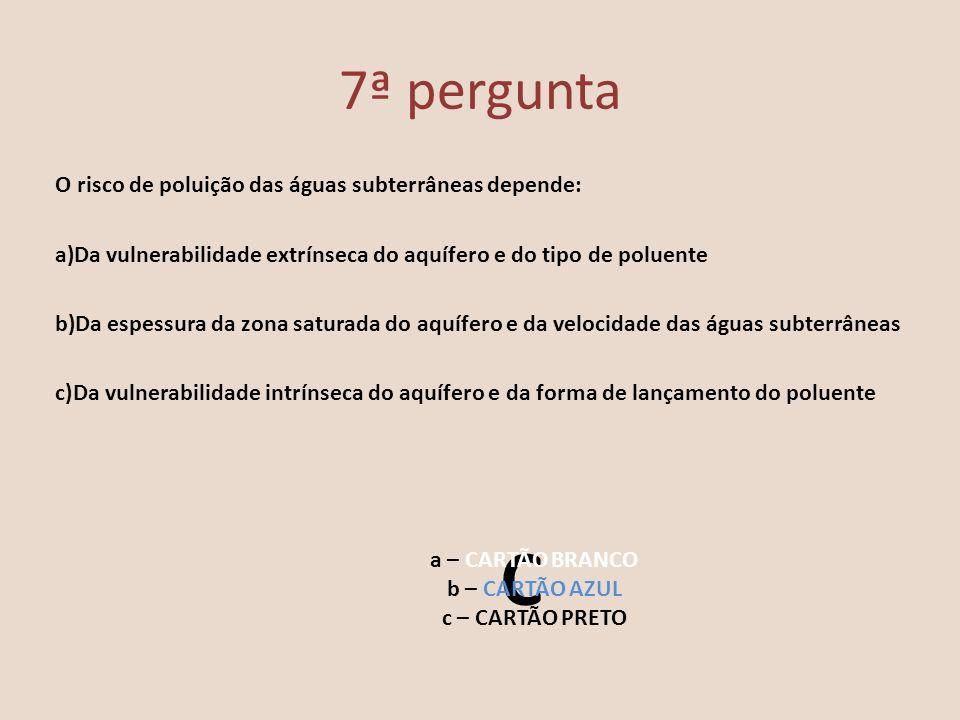 7ª pergunta O risco de poluição das águas subterrâneas depende: a)Da vulnerabilidade extrínseca do aquífero e do tipo de poluente b)Da espessura da zo
