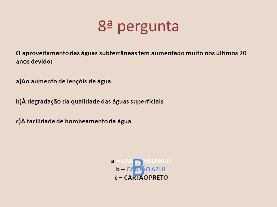 8ª pergunta O aproveitamento das águas subterrâneas tem aumentado muito nos últimos 20 anos devido: a)Ao aumento de lençóis de água b)À degradação da