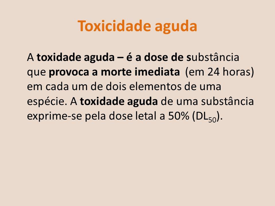 Toxicidade aguda A toxidade aguda – é a dose de substância que provoca a morte imediata (em 24 horas) em cada um de dois elementos de uma espécie. A t