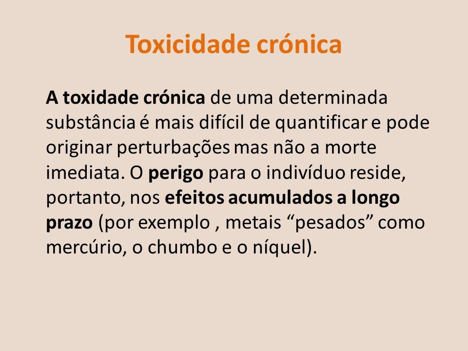 Toxicidade crónica A toxidade crónica de uma determinada substância é mais difícil de quantificar e pode originar perturbações mas não a morte imediat