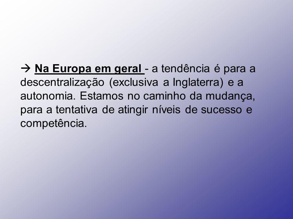 Na Europa em geral - a tendência é para a descentralização (exclusiva a Inglaterra) e a autonomia. Estamos no caminho da mudança, para a tentativa de