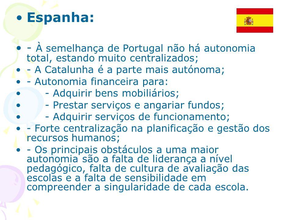 Espanha: - À semelhança de Portugal não há autonomia total, estando muito centralizados; - A Catalunha é a parte mais autónoma; - Autonomia financeira