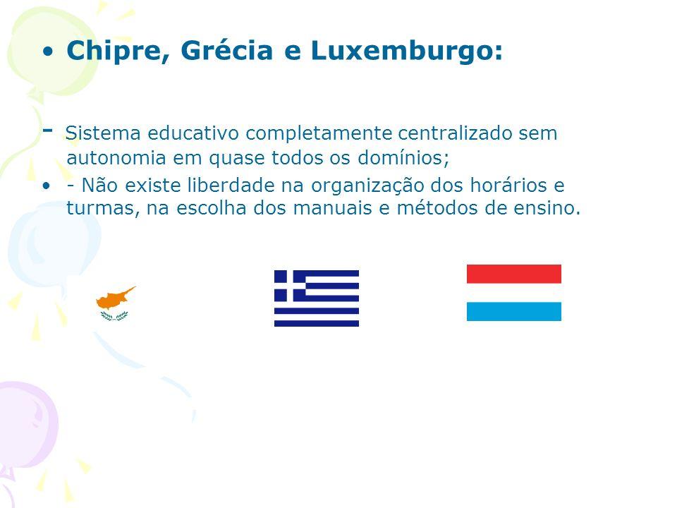 Chipre, Grécia e Luxemburgo: - Sistema educativo completamente centralizado sem autonomia em quase todos os domínios; - Não existe liberdade na organi