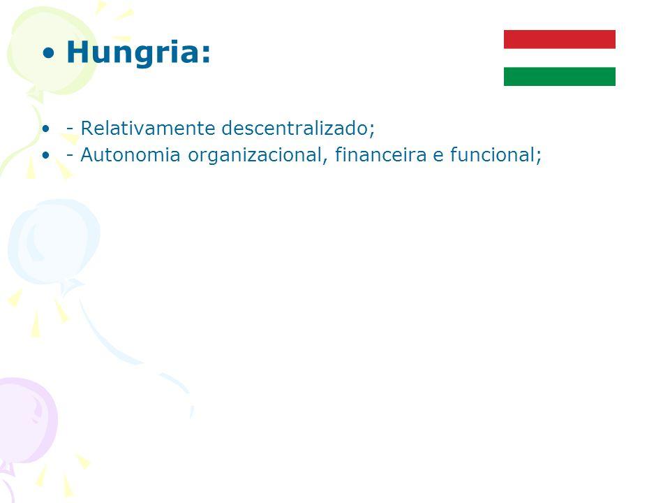 Hungria: - Relativamente descentralizado; - Autonomia organizacional, financeira e funcional;