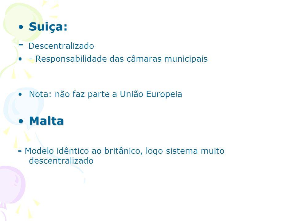 Suiça: - Descentralizado - Responsabilidade das câmaras municipais Nota: não faz parte a União Europeia MaltaMalta - - Modelo idêntico ao britânico, l