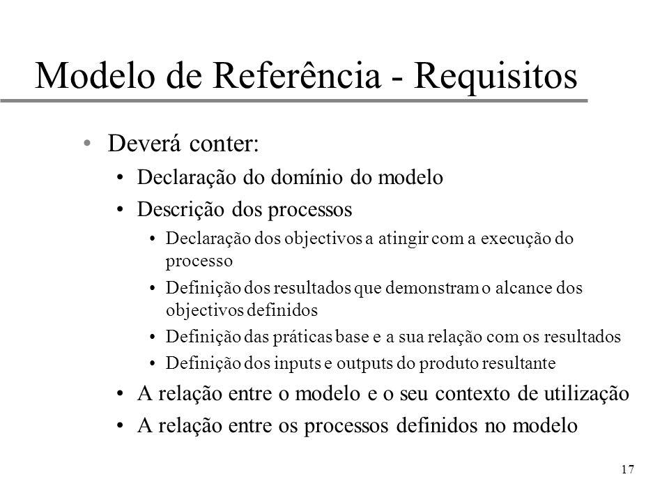 17 Modelo de Referência - Requisitos Deverá conter: Declaração do domínio do modelo Descrição dos processos Declaração dos objectivos a atingir com a