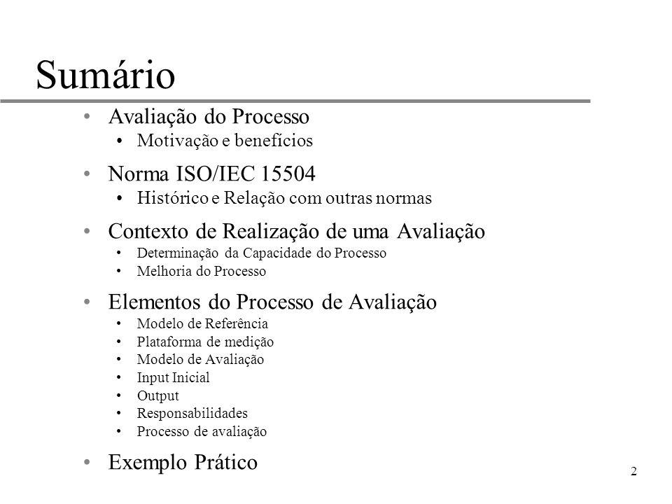 2 Sumário Avaliação do Processo Motivação e benefícios Norma ISO/IEC 15504 Histórico e Relação com outras normas Contexto de Realização de uma Avaliaç