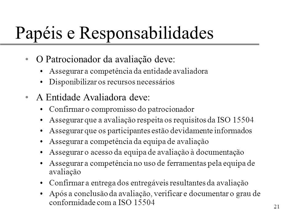 21 Papéis e Responsabilidades O Patrocionador da avaliação deve: Assegurar a competência da entidade avaliadora Disponibilizar os recursos necessários