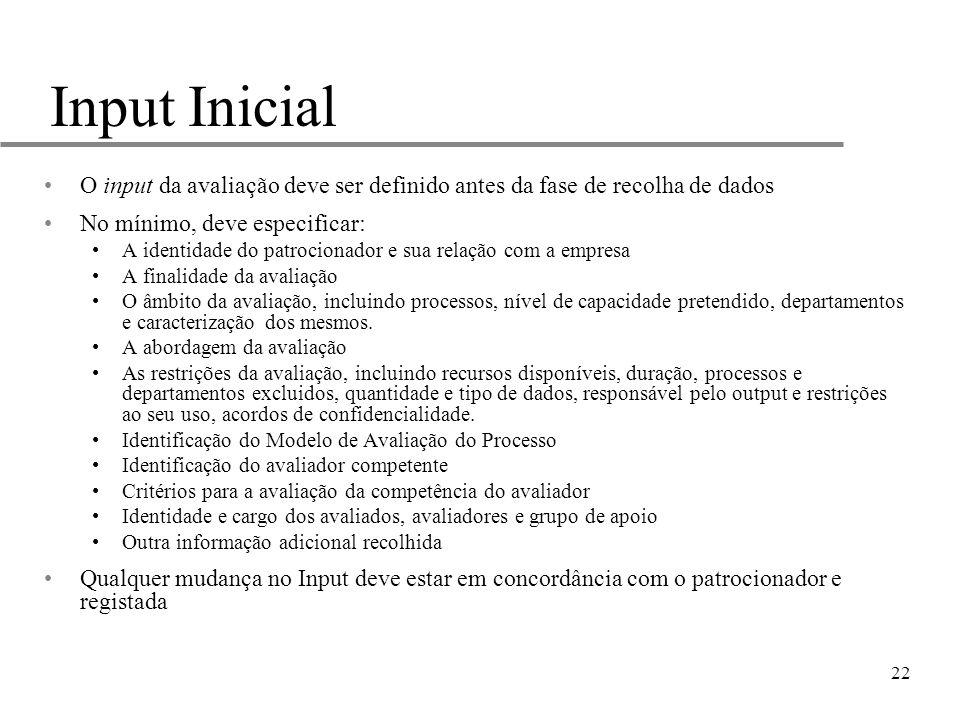 22 Input Inicial O input da avaliação deve ser definido antes da fase de recolha de dados No mínimo, deve especificar: A identidade do patrocionador e