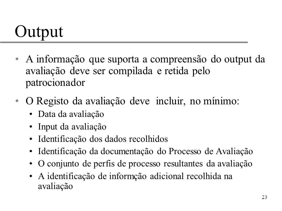 23 Output A informação que suporta a compreensão do output da avaliação deve ser compilada e retida pelo patrocionador O Registo da avaliação deve inc