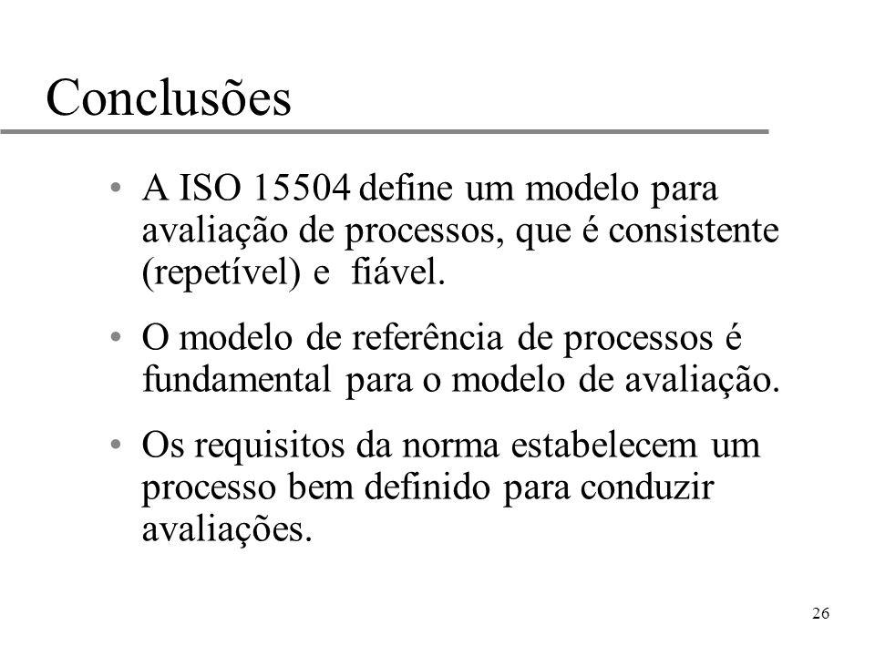 26 Conclusões A ISO 15504 define um modelo para avaliação de processos, que é consistente (repetível) e fiável. O modelo de referência de processos é