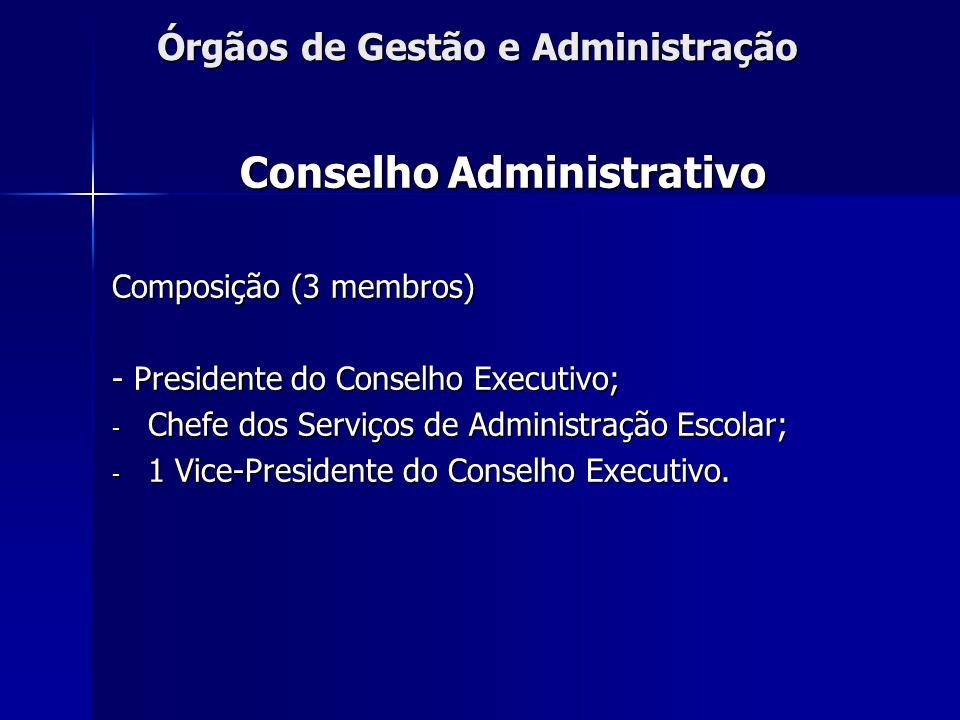 Órgãos de Gestão e Administração Conselho Administrativo Composição (3 membros) - Presidente do Conselho Executivo; - Chefe dos Serviços de Administra