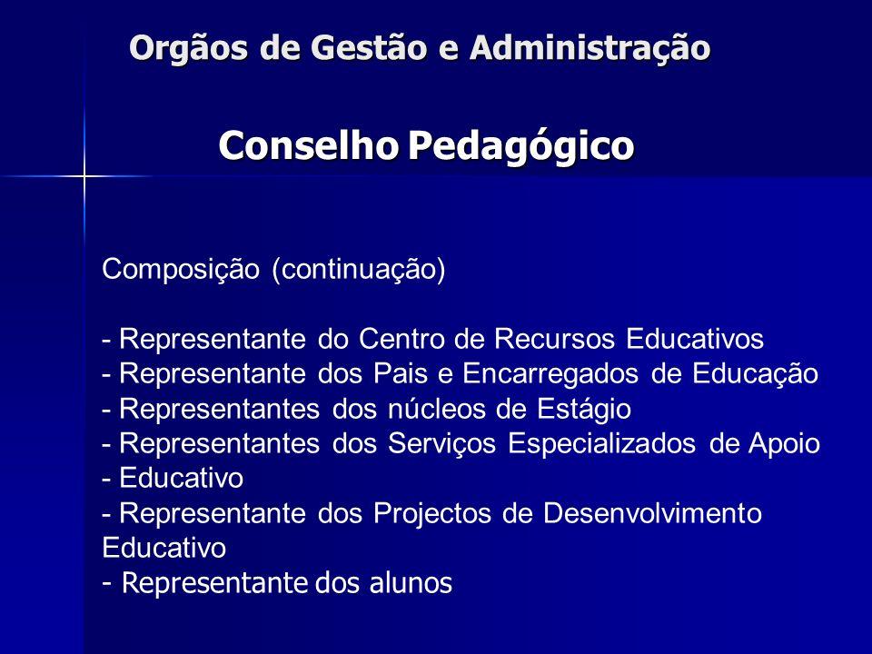 Orgãos de Gestão e Administração Composição (continuação) - Representante do Centro de Recursos Educativos - Representante dos Pais e Encarregados de