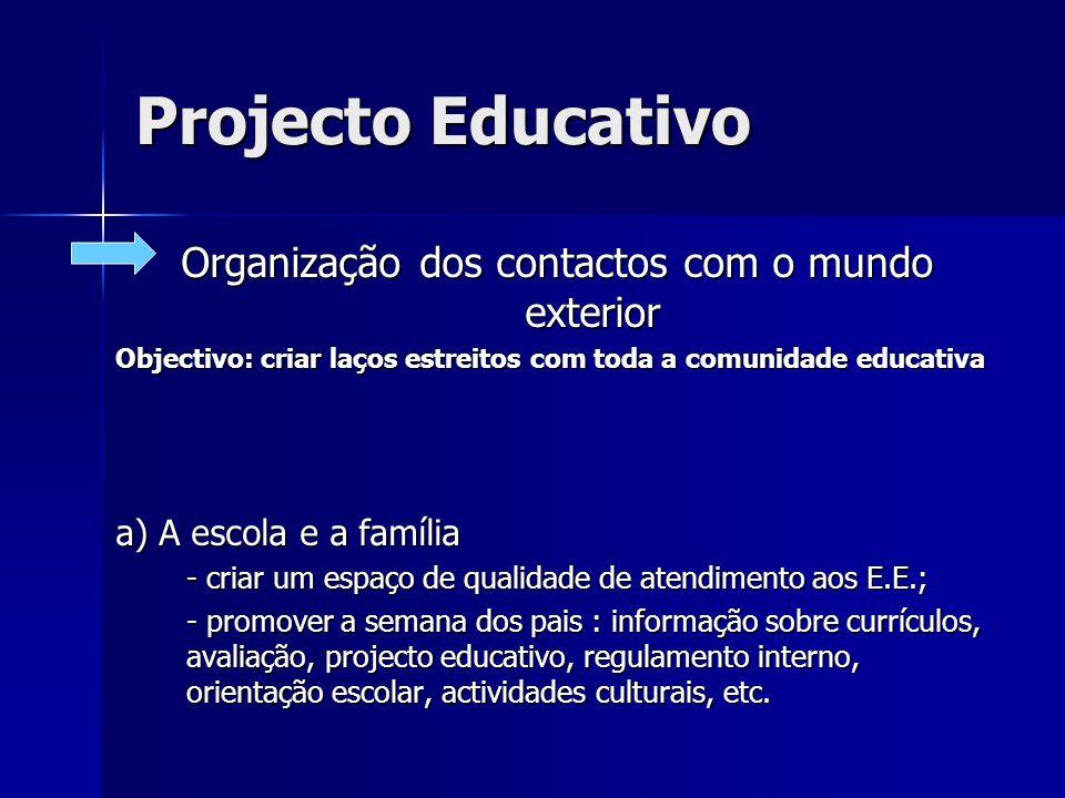 Projecto Educativo Organização dos contactos com o mundo exterior Objectivo: criar laços estreitos com toda a comunidade educativa a) A escola e a fam