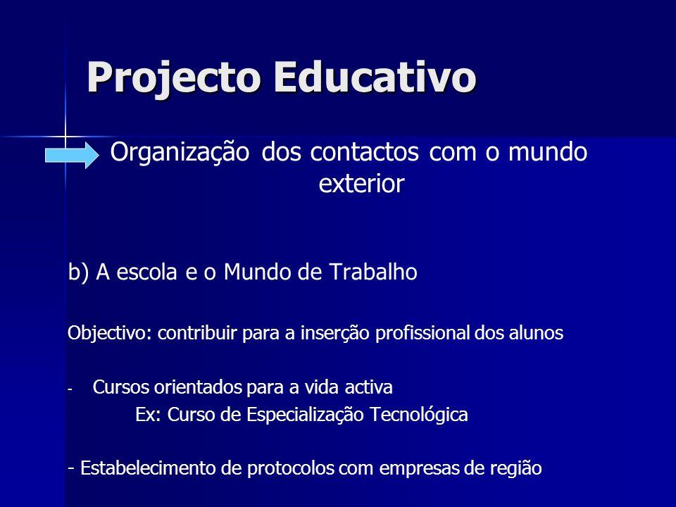 Projecto Educativo Organização dos contactos com o mundo exterior b) A escola e o Mundo de Trabalho Objectivo: contribuir para a inserção profissional
