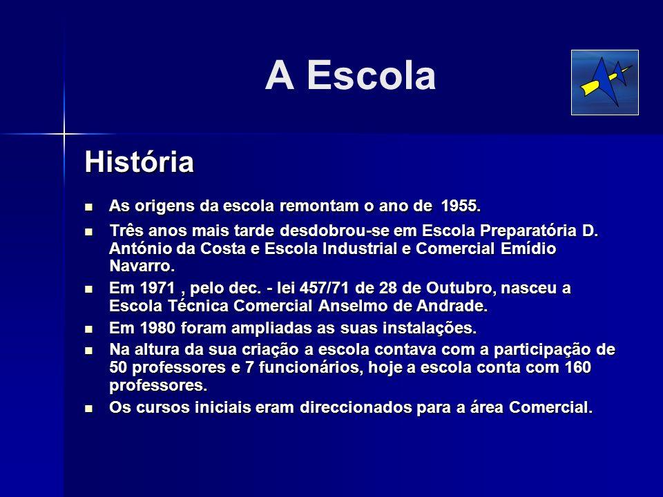 A Escola História As origens da escola remontam o ano de 1955. As origens da escola remontam o ano de 1955. Três anos mais tarde desdobrou-se em Escol