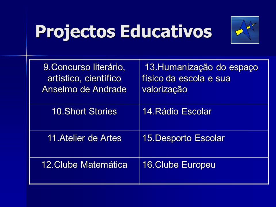 Projectos Educativos 9.Concurso literário, artístico, científico Anselmo de Andrade 13.Humanização do espaço físico da escola e sua valorização 13.Hum