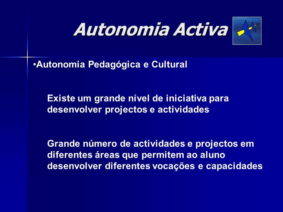Autonomia Pedagógica e Cultural Existe um grande nível de iniciativa para desenvolver projectos e actividades Grande número de actividades e projectos