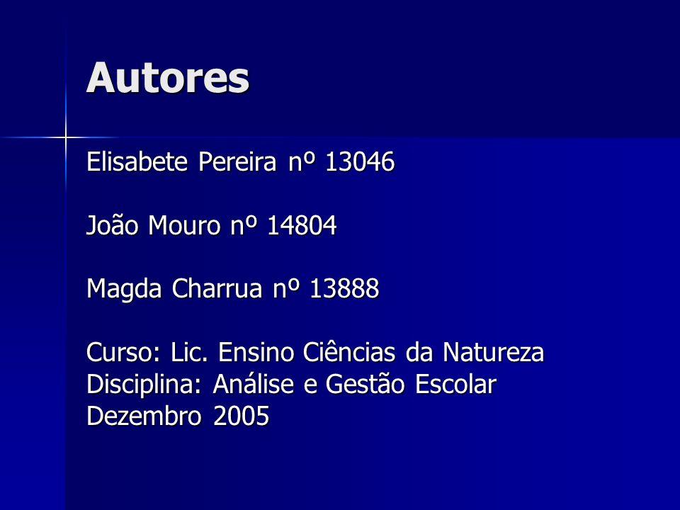 Autores Elisabete Pereira nº 13046 João Mouro nº 14804 Magda Charrua nº 13888 Curso: Lic. Ensino Ciências da Natureza Disciplina: Análise e Gestão Esc