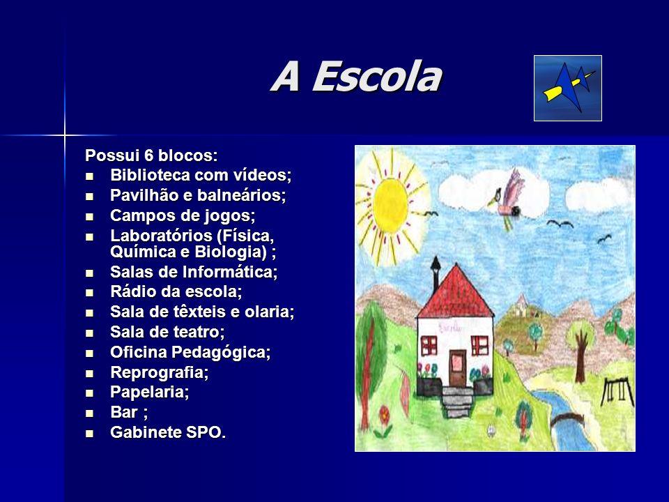 A Escola Possui 6 blocos: Biblioteca com vídeos; Biblioteca com vídeos; Pavilhão e balneários; Pavilhão e balneários; Campos de jogos; Campos de jogos