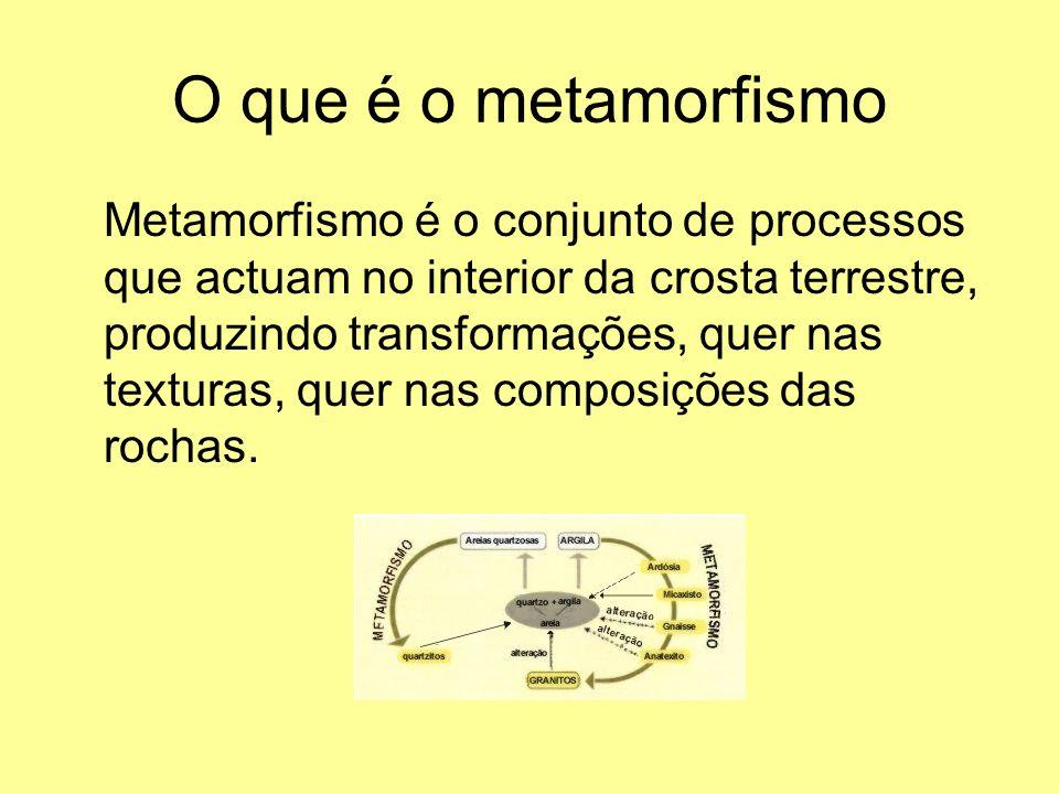 O que é o metamorfismo Metamorfismo é o conjunto de processos que actuam no interior da crosta terrestre, produzindo transformações, quer nas texturas