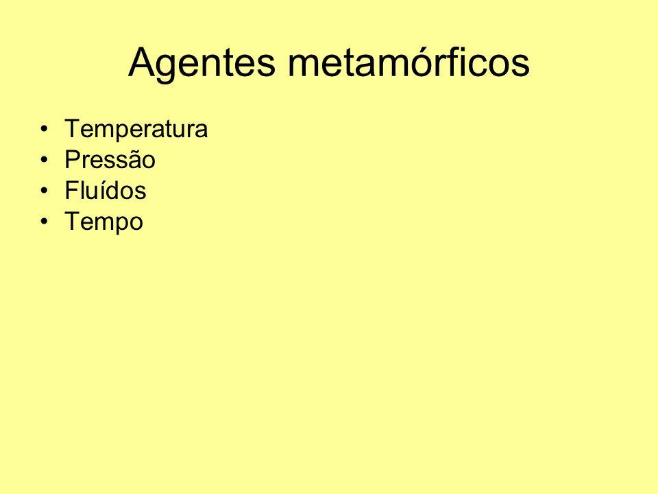 Agentes metamórficos Temperatura Pressão Fluídos Tempo