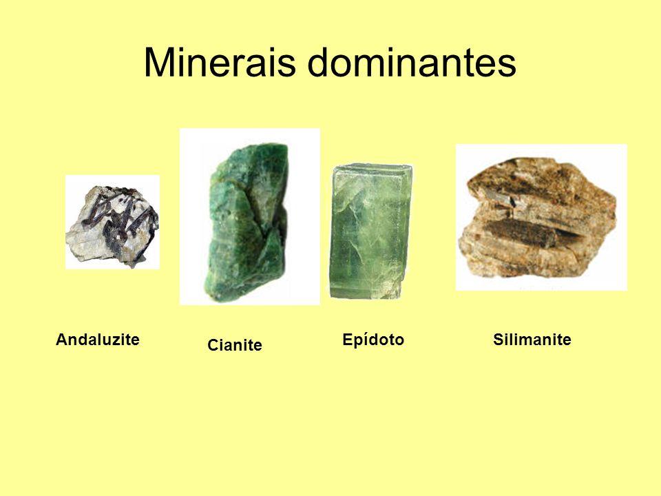 Minerais dominantes Andaluzite Cianite EpídotoSilimanite