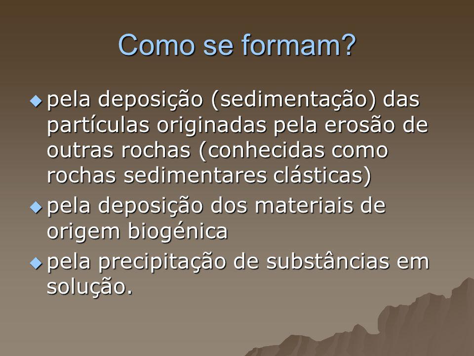 Como se formam? pela deposição (sedimentação) das partículas originadas pela erosão de outras rochas (conhecidas como rochas sedimentares clásticas) p