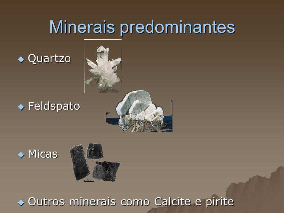 Minerais predominantes Quartzo Quartzo Feldspato Feldspato Micas Micas Outros minerais como Calcite e pirite Outros minerais como Calcite e pirite
