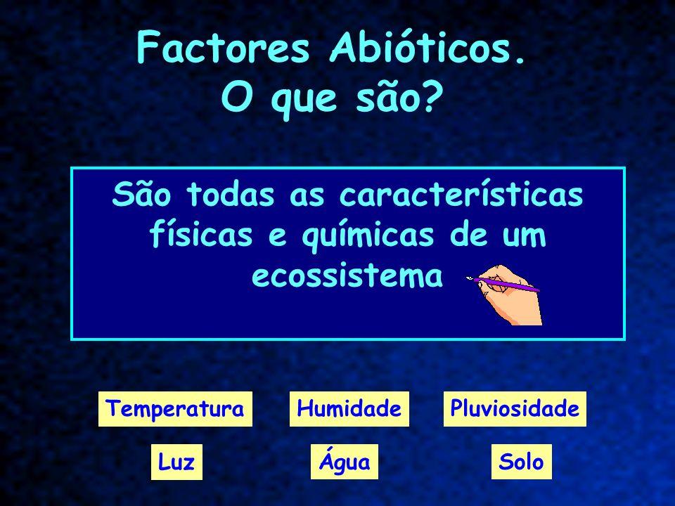 Factor abiótico - luz É uma característica física dos ecossistemas, proveniente da radiação solar.