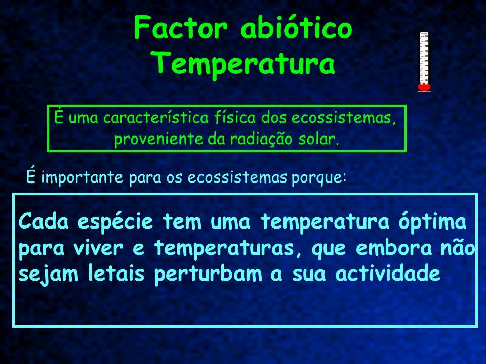 Factor abiótico Temperatura É uma característica física dos ecossistemas, proveniente da radiação solar. É importante para os ecossistemas porque: Cad